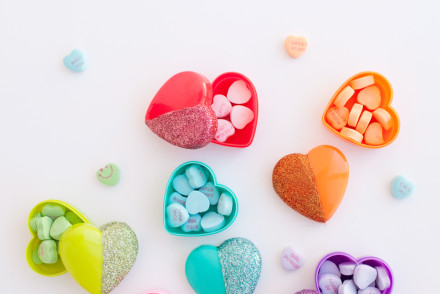 diy glitter heart candy boxes