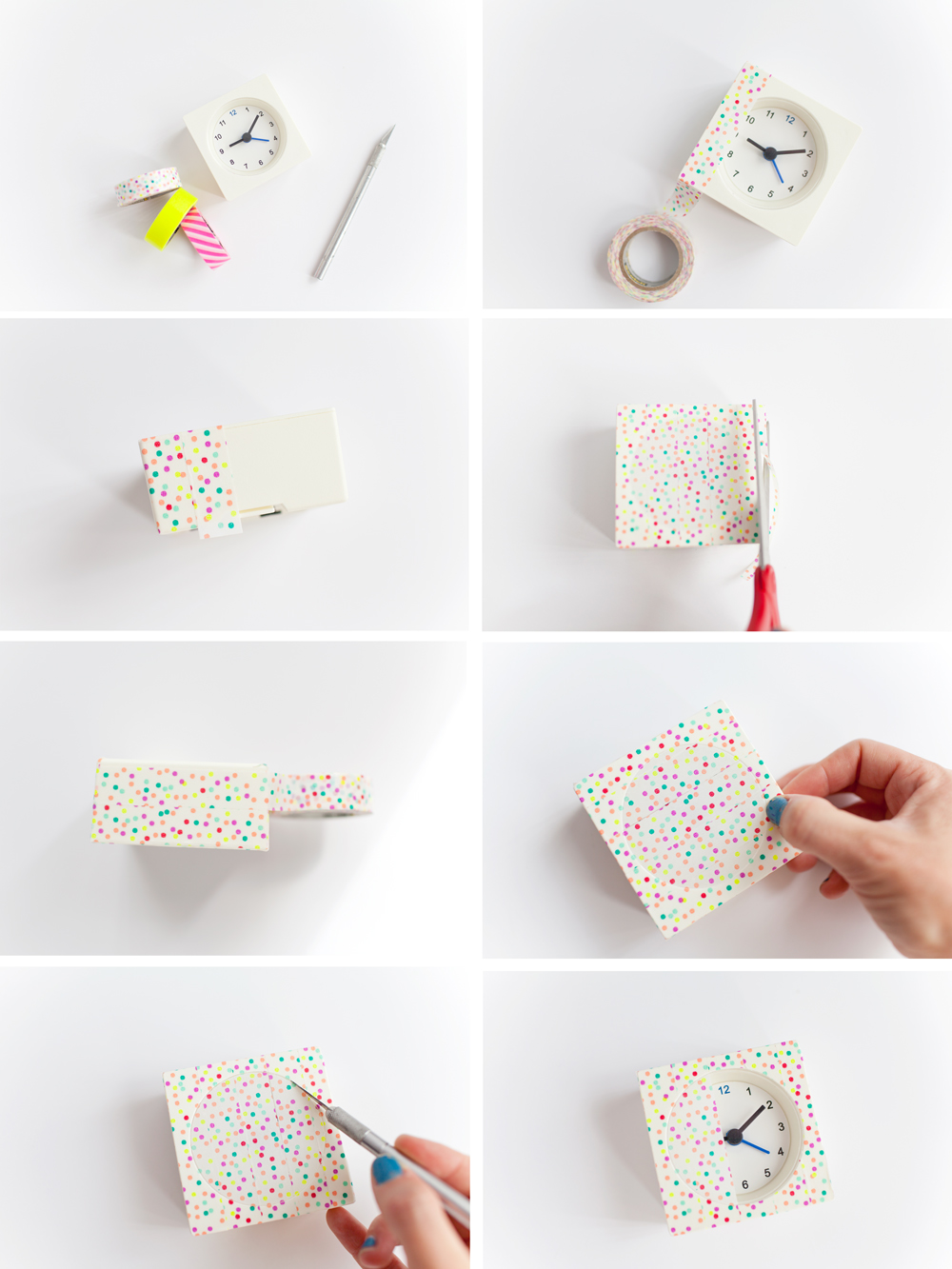 diy washi tape clocks tell love and party. Black Bedroom Furniture Sets. Home Design Ideas