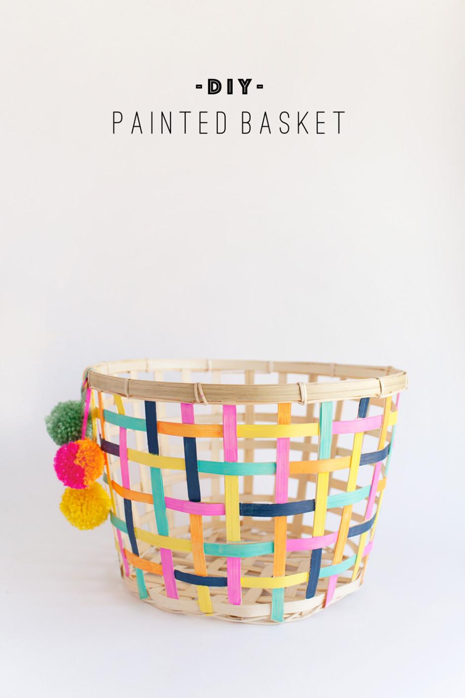 DIY painted storage basket