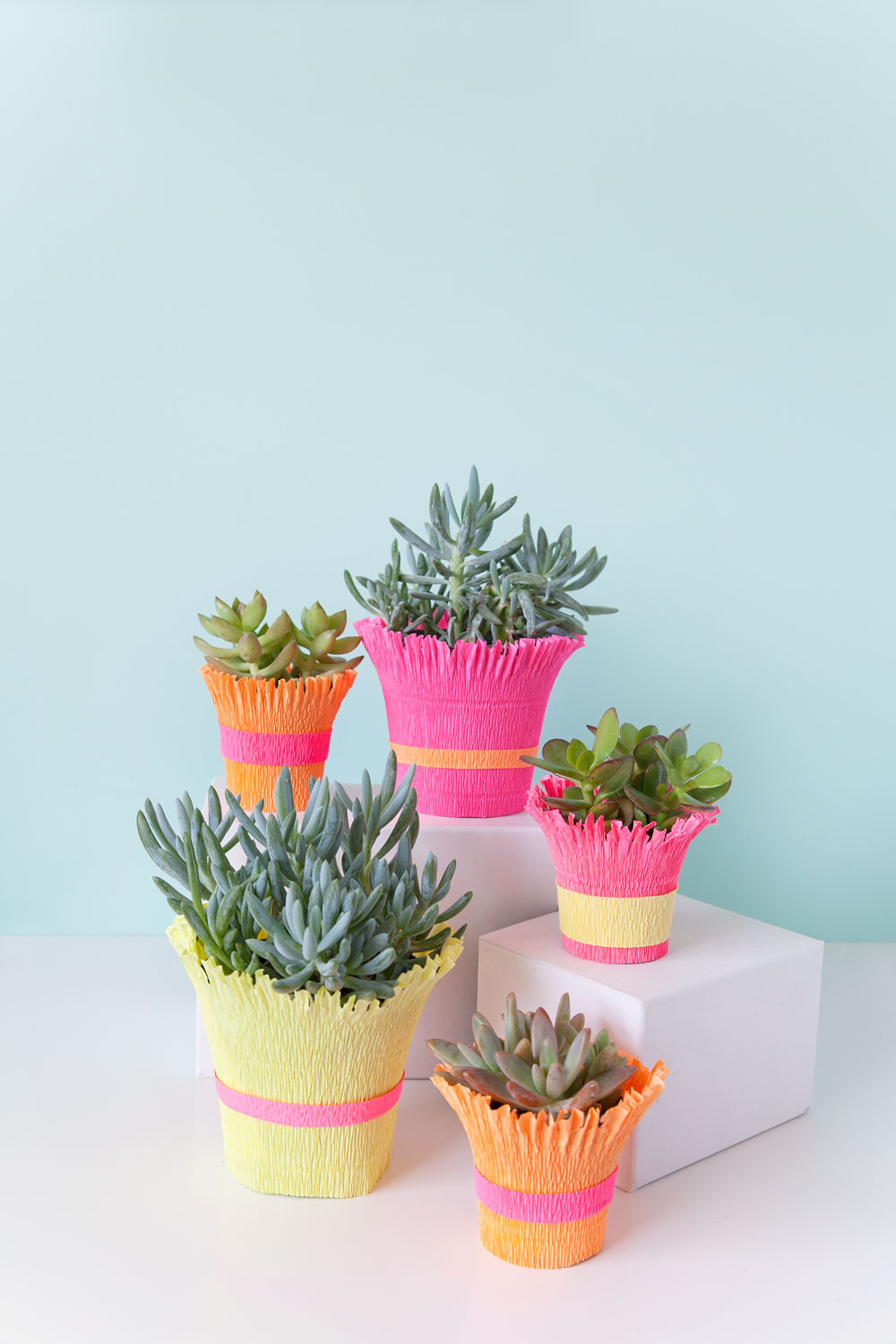 DIY-crepe-paper-wrapped-pots-an-easy-diy-for-table-and-party-decor