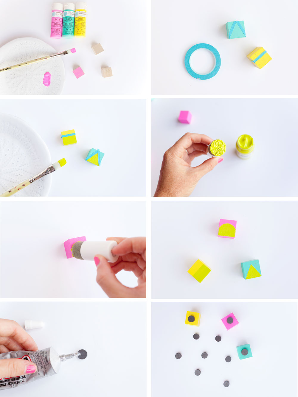DIY-geo-wood-block-magnents.--Make-sure-you-fridge-is-cute-and-colorful