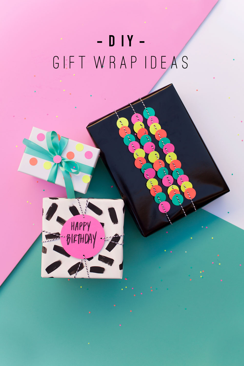 Fun gift wrap ideas using a hole punch tell love and party for How to wrap presents with wrapping paper