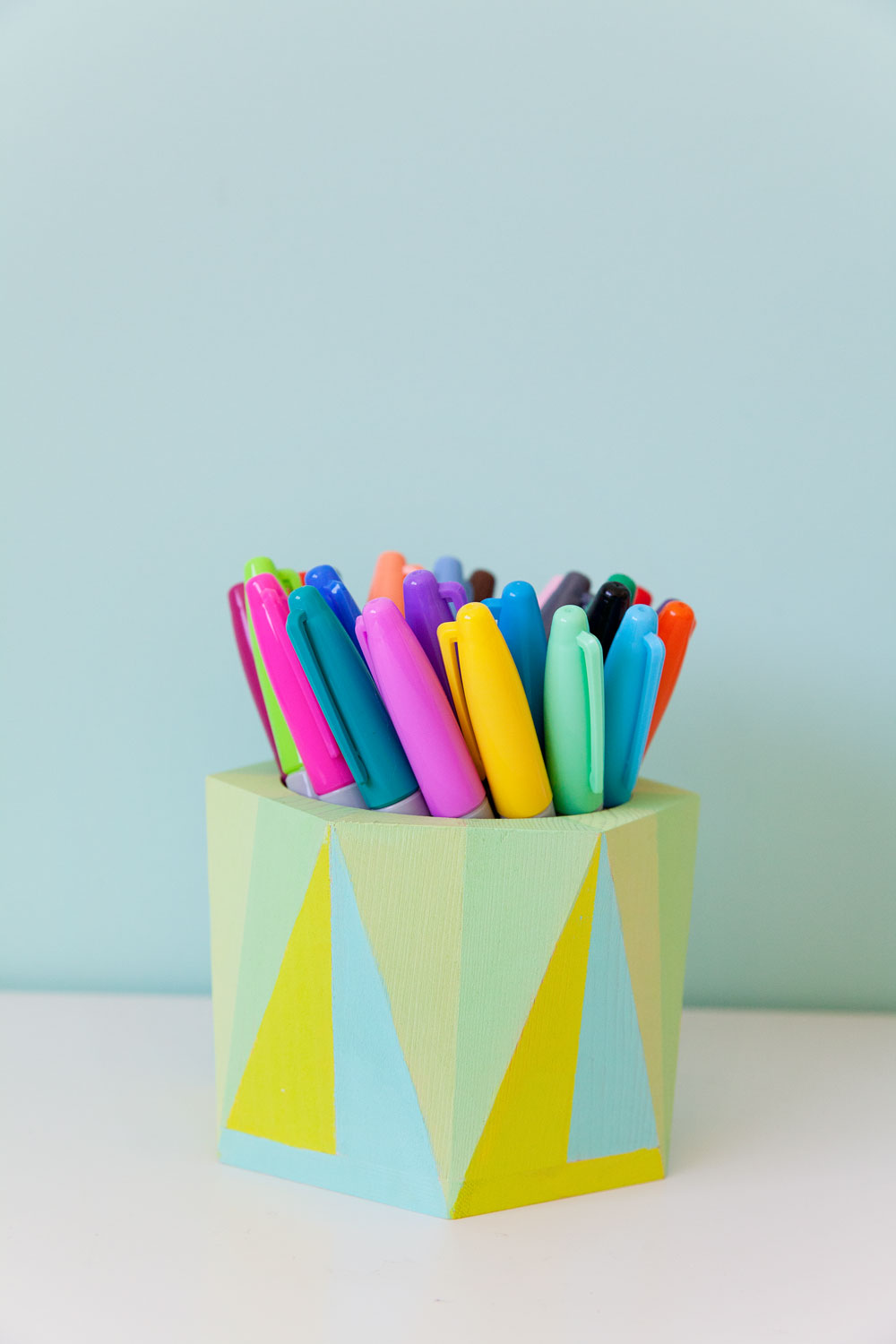 colorful-geo-painted-pen-holder-for-your-desk