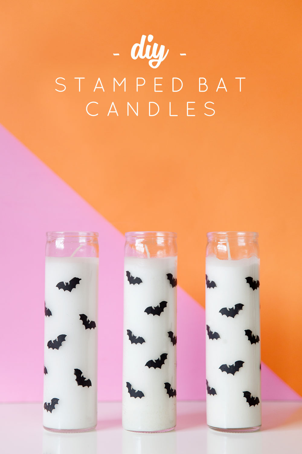 Diy Stamped Bat Candles