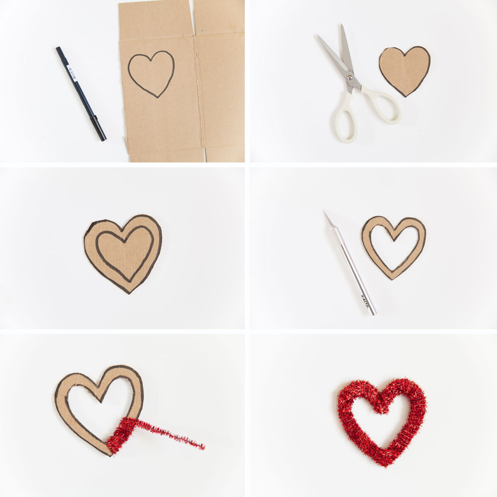 diy steps to make a pipe cleaner heart for Valentine's Day