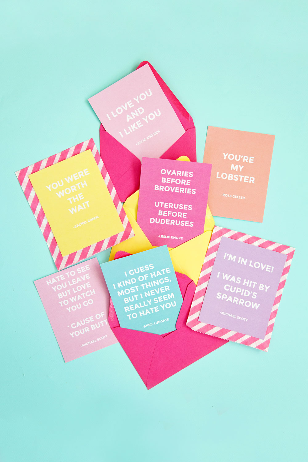These funny quote Valentine's are sure to get some laughs. All quotes from The Office, Parks and Rec and Friends... some of the best shows ever!