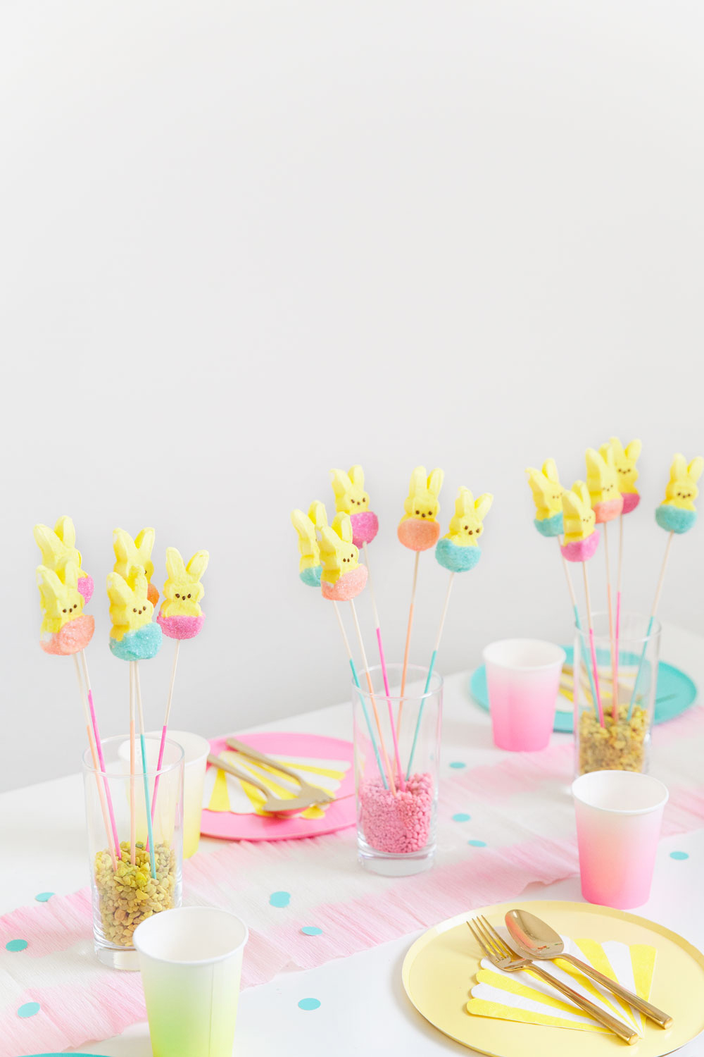 Learn how to make these fun and SIMPLE multicolored peeps. Perfect for Easter table decor or just something fun for an Easter basket.