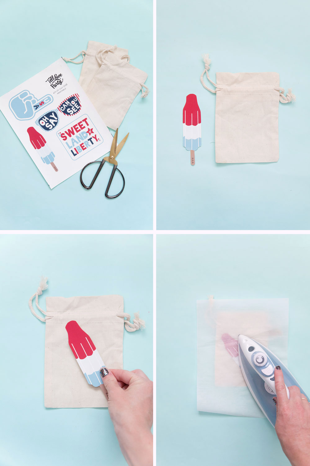 Make these 4th of July Goodie Bags in 5 min with these free iron on printables