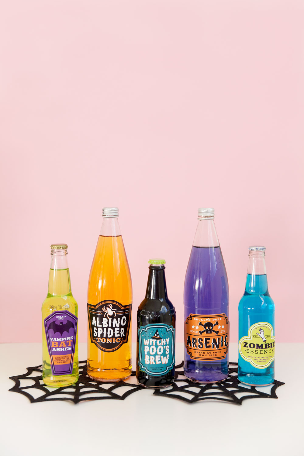 Make any halloween gathering more fun with these free printable Halloween drink labels. Stick them on any bottle and they instantly become a spooky treat.