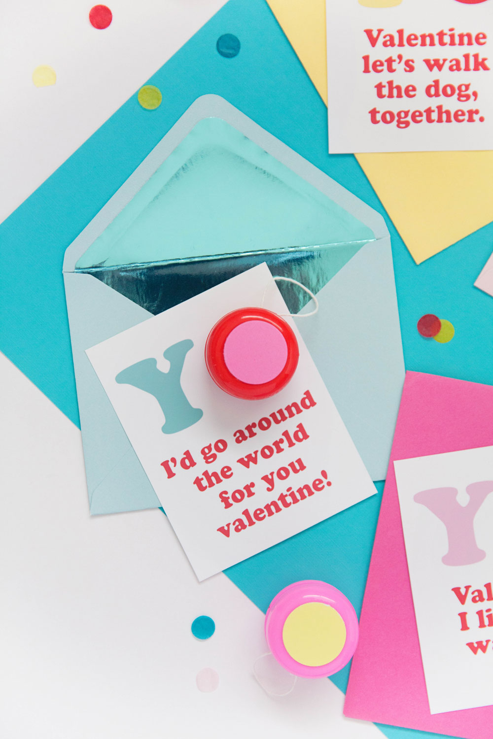 These clever and funny yo-yo valentines are the perfect non candy option his Holiday