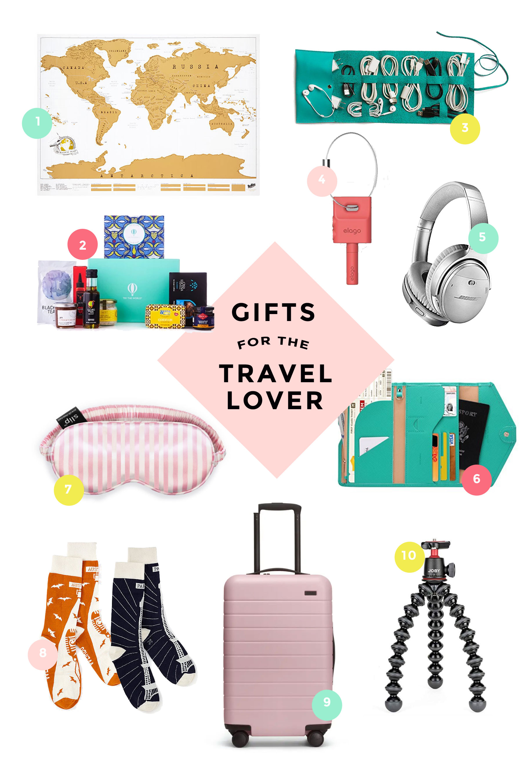Gift ideas for that traveler you love. These are sure to be something fun and will help make traveling easier and more fun.