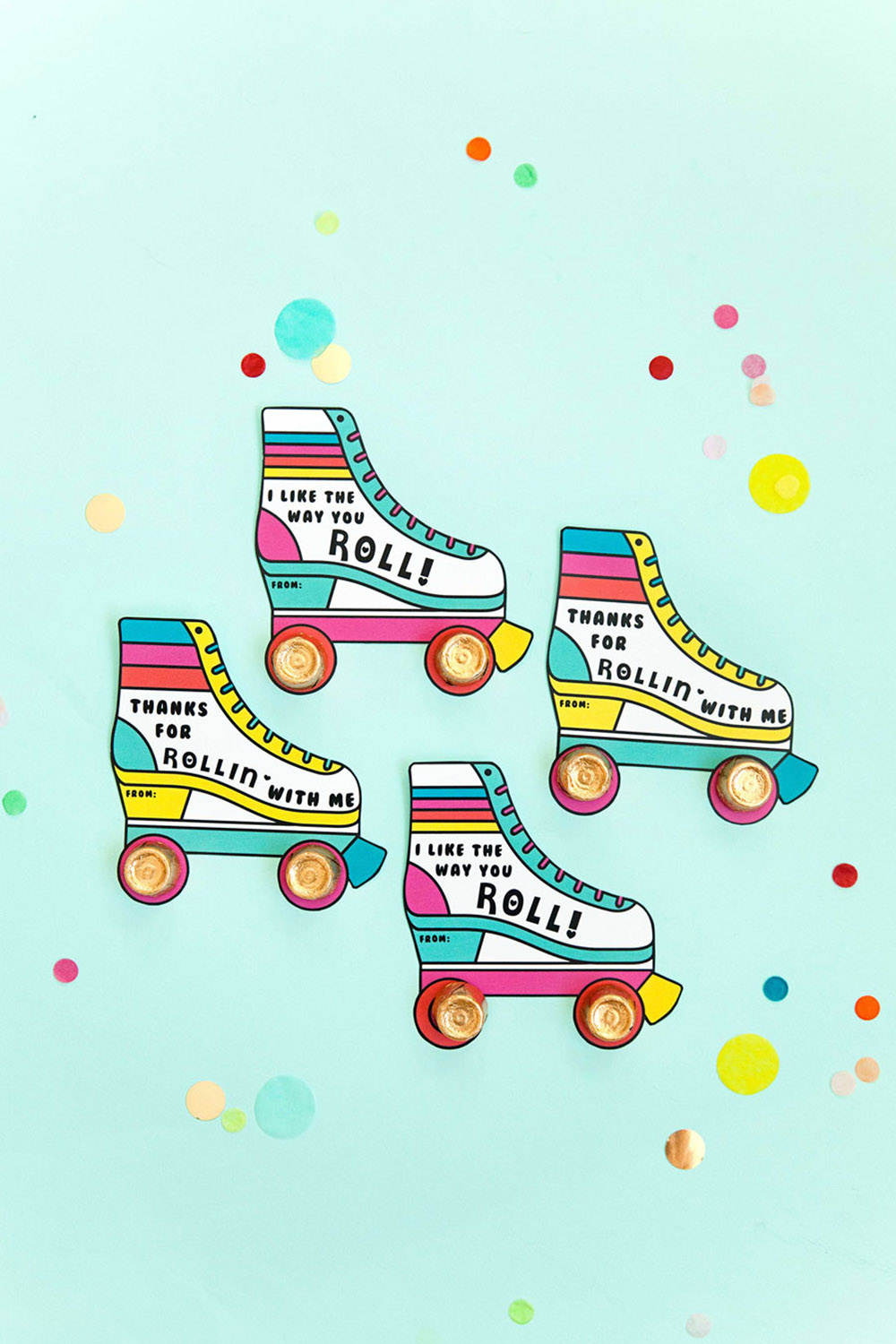 These printable roller skate Valentine's are sure to be a hit!