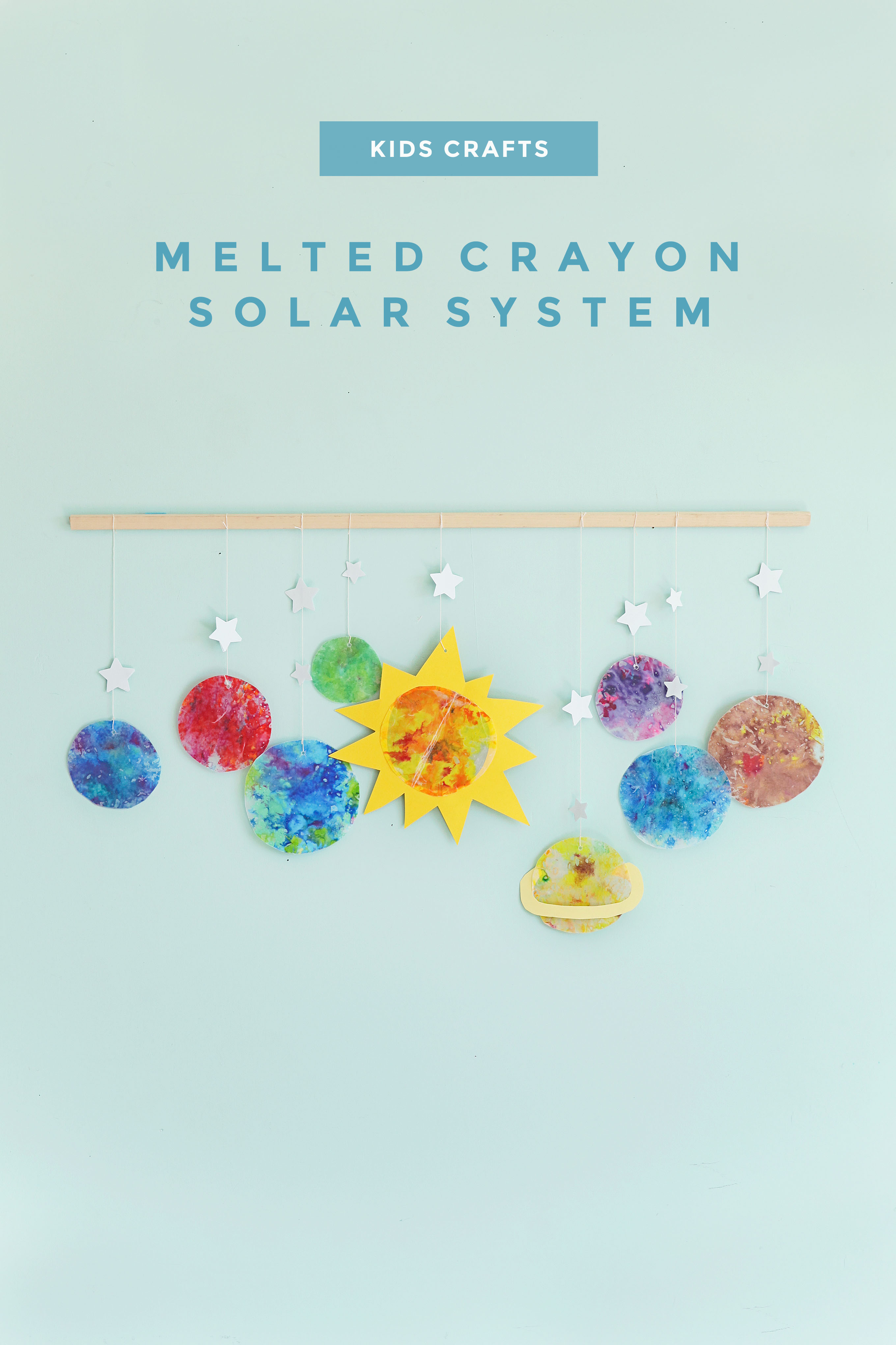 Kids craft ideas:  Melted crayon solar system